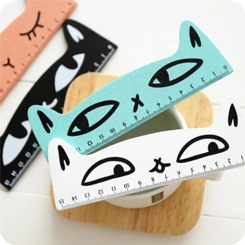 1pcs Cartoon Creative Wooden Cute Cat Shape 15cm Ruler Kawaii Korea Simple Kids Learning Tool Supplies For Children's Day