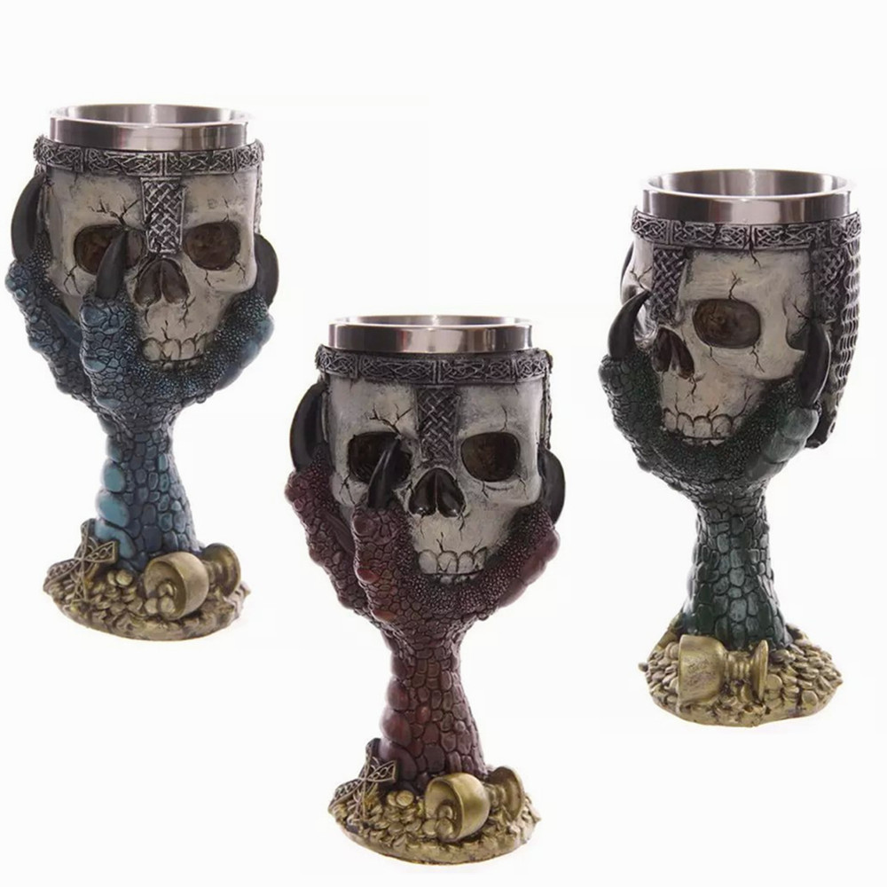 LIYIMENG Double Wall Stainless Steel 3D Skull Drinking Whisky Mug Personalized Dragon Bone Skull Metal Grape Wine Goblet Cups