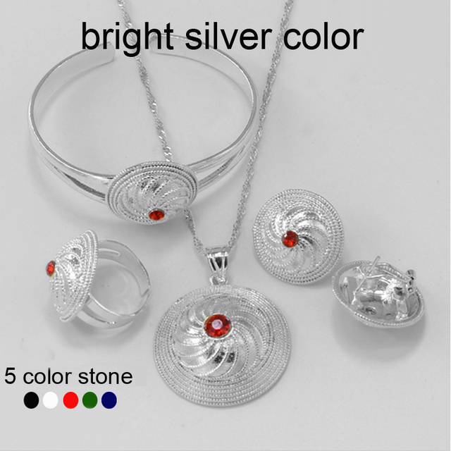 Bbright Silver Ethiopian Jewelry set Pendant Chain/Bangle/Earring/Ring Silver Plated Ethiopia Wedding Bride set Africa #055706