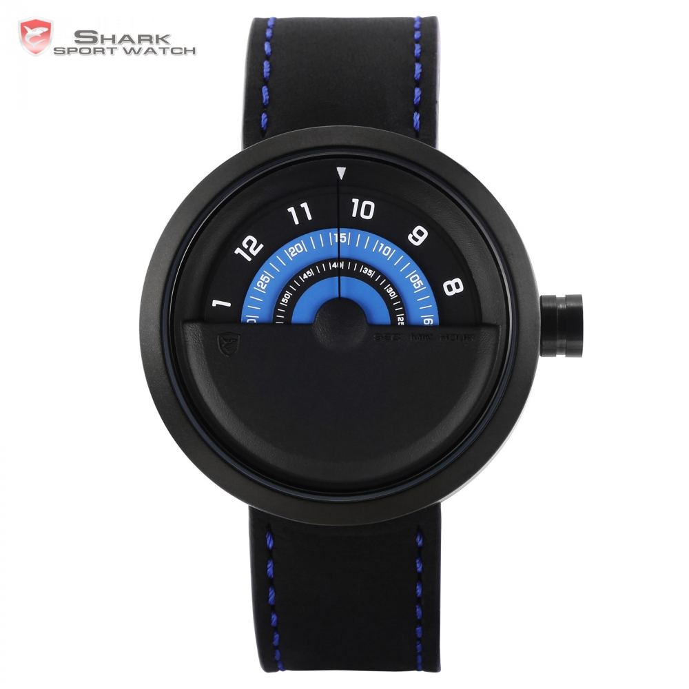 Bonnethead Shark Sport Watch Men's 3ATM Quartz Wristwatch Brand Designer Turntable Blue Rotate Leather Relogio Masculino /SH422 snaggletooth shark sport watch lcd auto