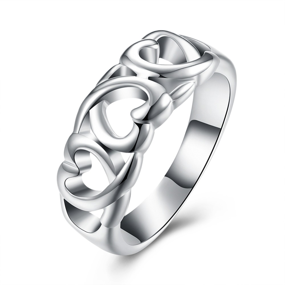 Hot Sales Silver Heart Finger Ring Woman Fashion Jewelry Valentines Day  Gifts Good Quality Low Price