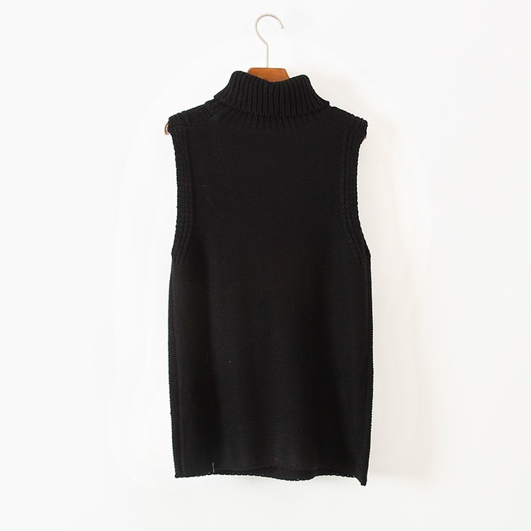 Turtleneck Thick Warm Long Knit Sleeveless Sweater Pullover Vest