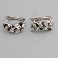 Flawless Black Stone 2 2mm Semi Precious Silver Cool For Womens Earrings ED0710