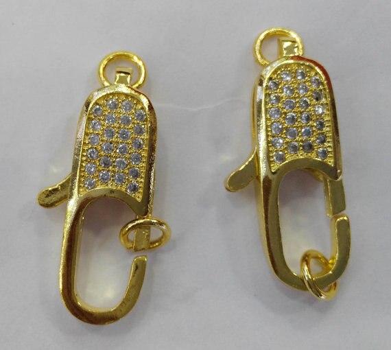 12 pièces 12-25mm CZ Micro Pavé Diamant pavé Homard Fermoirs bijoux Micro Pave longue ovale En Laiton rose or Antique argent gomme