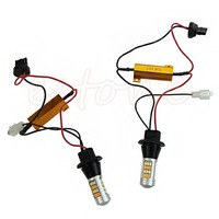 2Pcs 50W 7440 T20 42 LED 2835 Dual Color Switchback LED DRL Turn Signal Light Kit