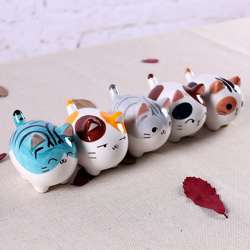 Cute Kawaii Fat Ceramic Maneki Neko Home Decor Crafts Room