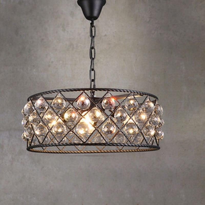 Черный железный роскошный круговой креативный современный подвесной светильник хрустальные модные светильники Led Chiip для столовая освещен