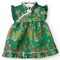 Green Peony Floral Baby Clothing Suit Dress Pant Toddler Qipao Chinese New Year Costume Children Cheongsam
