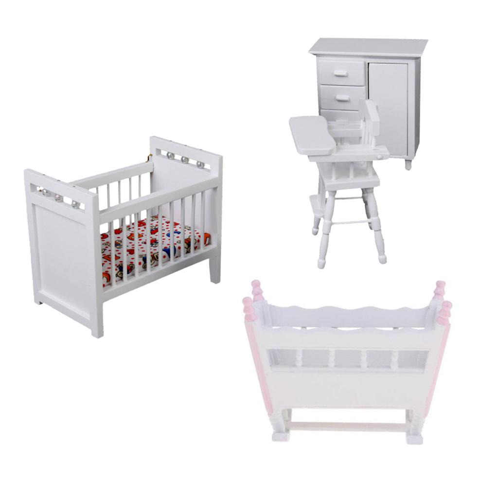 White Miniature Wooden Furniture Sets Cradle Bed Miniature Baby Bedroom Set for 1/12 Scale Dollhouse Baby Bedroom Accessories