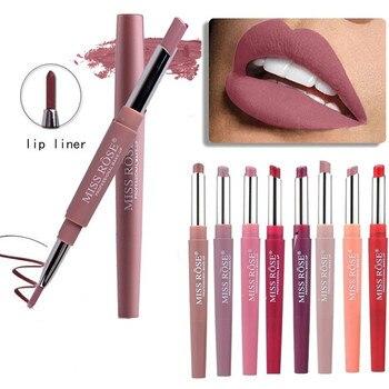 20-color matte batom, impermeável e de longa duração forro de lábio de batom duplo, cor nude, cosméticos de maquiagem de bordo vermelho