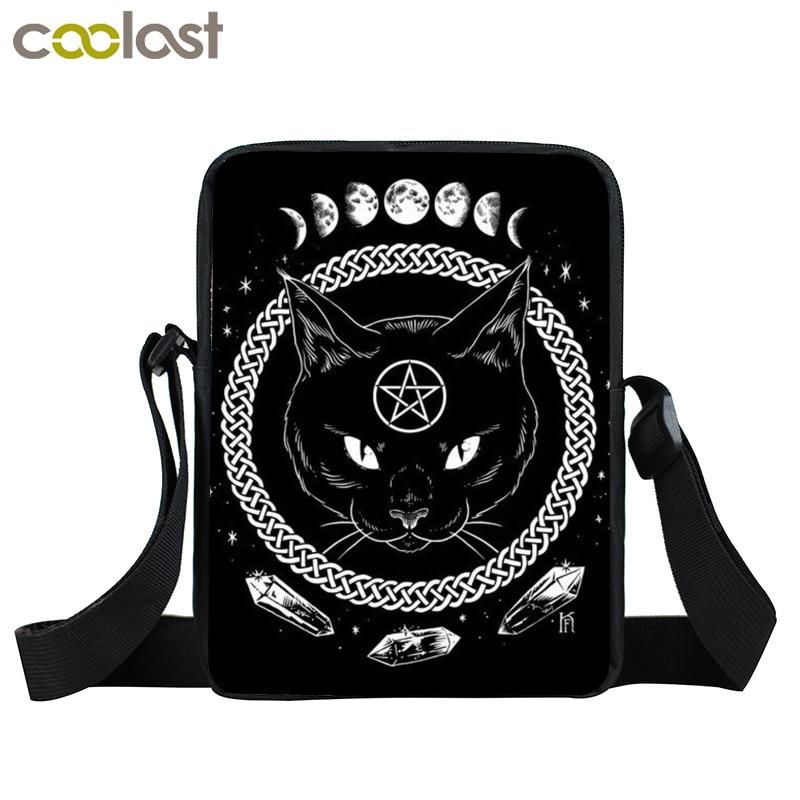 La hora de las brujas/brujería gato negro Mini bolsa de mensajero bolsos de las mujeres niñas hombro bolsas niños bolso bruja mochila