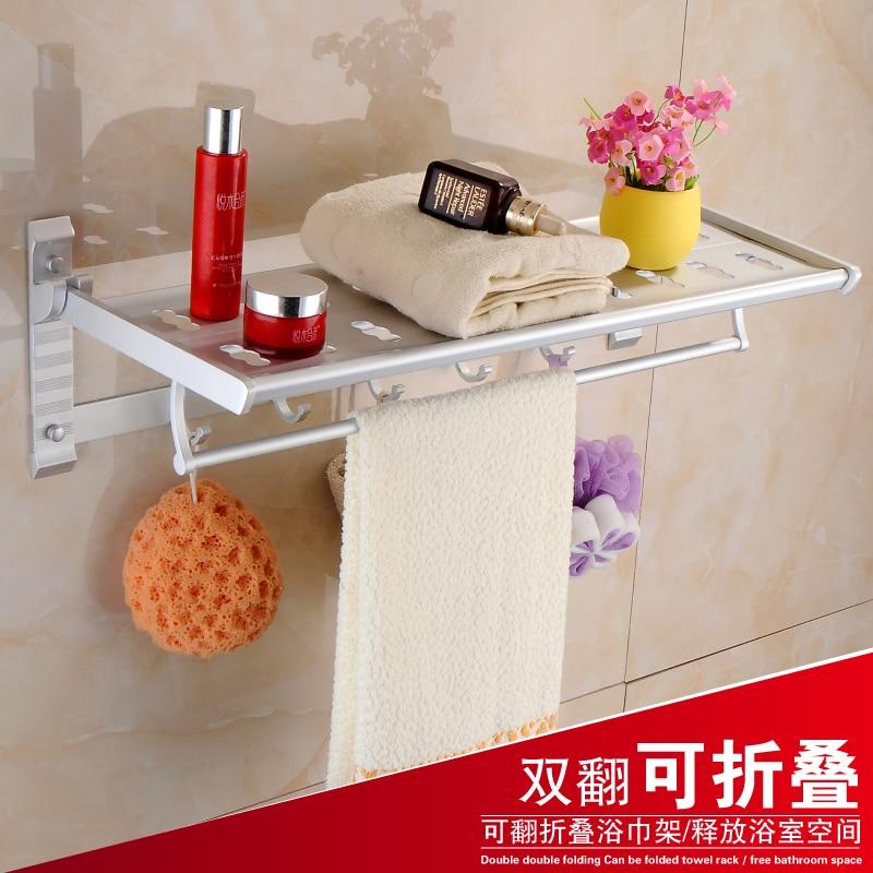 ФОТО Free shipping bathroom shelf aluminum wall folding bathroom towel rack aluminum 2 layer Pendant towel bar cloth hook towel shelf