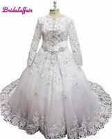 Luxury Lace Ball Gown Wedding Dress Off Shoulder Princess Arabic Muslim Arab Bride Bridal Dress Royal TrainGown Weddingdress