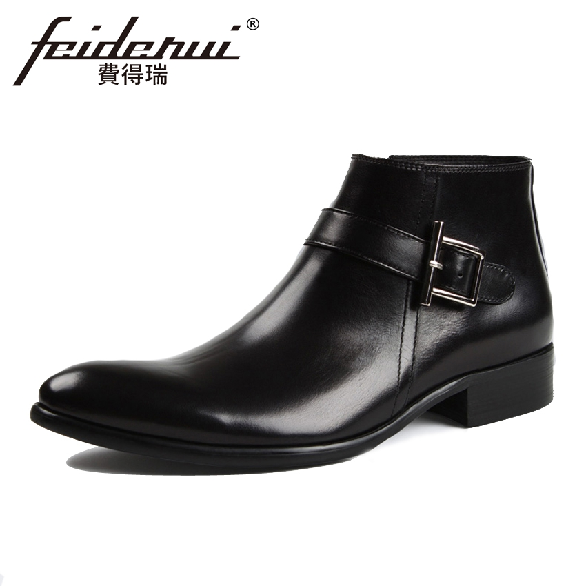 High Quality Genuine Leather Mens  Ankle Boots Italian Style Pointed Toe Handmade Cowboy Riding Man High-Top Shoes YMX278High Quality Genuine Leather Mens  Ankle Boots Italian Style Pointed Toe Handmade Cowboy Riding Man High-Top Shoes YMX278
