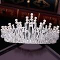 Crystal Rhinestone Pearl jewelry Silver Plated Bridal Tiara Crown 2017 Wedding Hair Accessories Gorgeous Bride Princess Headwear