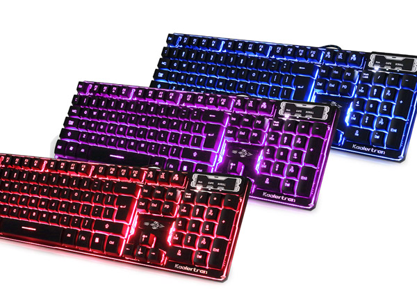 3 color backlit gaming keyboard switchable computer laptop USB wired backlight led gamer keyboard for DOTA2 WOW LOL