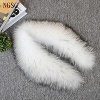 NGSG Women Winter Genuine Fur Raccoon Collar 50cm Jacket Coat Fur Collars 80cm White Black Tip Real Raccoon Fur Scarf SF13060 7
