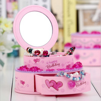 Cake Jewelry Box With Mirro Music Boxes Home Decoration Figurines Birthday Present For Girls Ornaments Child