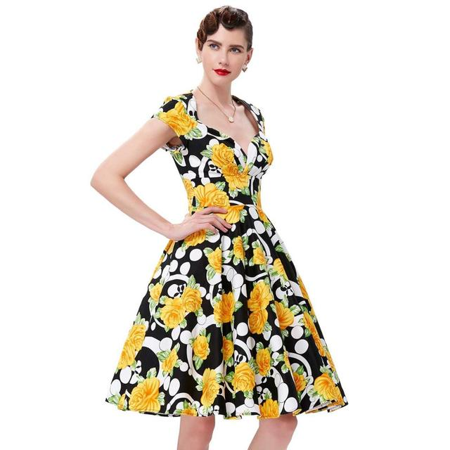 9116e9b563652 Belle Poque Audrey Hepburn Robe Retro Rockabilly Dress 2018 jurken 60s  Swing Floral Pin up Women Summer 50s Vintage Dresses