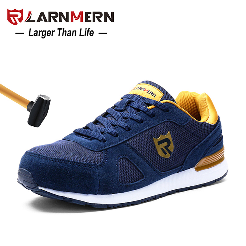 Work & Safety Boots Larnmern Mens Steel Toe Work Safety Shoes Lightweight Breathable Anti-smashing Non-slip Reflective Casual Sneaker Men's Shoes