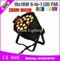 2 шт./лот Профессиональный осветительный прибор DMX Wash Par Can 6in1 RGBWA + UV 18 шт. 18 Вт LED Par Zoom par can с зумом