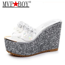 Mvp Boy  Woman 11 cm High Heel Slippers Women Summer Wedges Heel Platform Creeper Slides Slippers Bling Crystal Women Shoes vtota slippers women fashion open toes women summer shoes heel shoes women slides platform wedges shoes female slippers g63