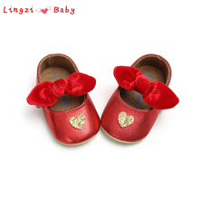 hot deal buy baby girls shoes pu bow heart shaped girl shoes spring cute newborn baby shoes for girls prewalker first walkers birthday