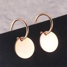 Новые серьги-гвоздики в стиле панк розового золота и серебра для женщин и мужчин, круглые серьги-гвоздики из нержавеющей стали, модные ювелирные изделия