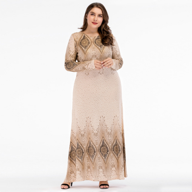 Beige Sequined Islamic Clothing Pakistani Sharara Dress in Big Size 4XL,Plus Size Muslim D