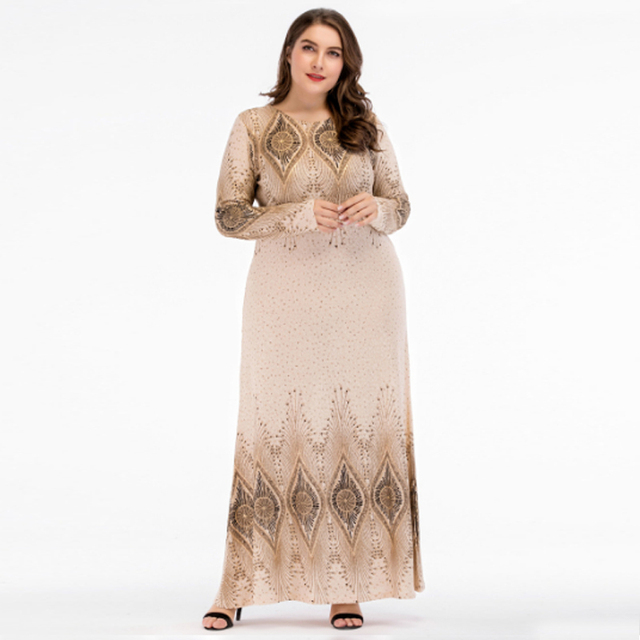 5a36c105c2 Beige Sequined Islamic Clothing Pakistani Sharara Dress in Big Size  4XL,Plus Size Muslim Dresses Arabic Dress