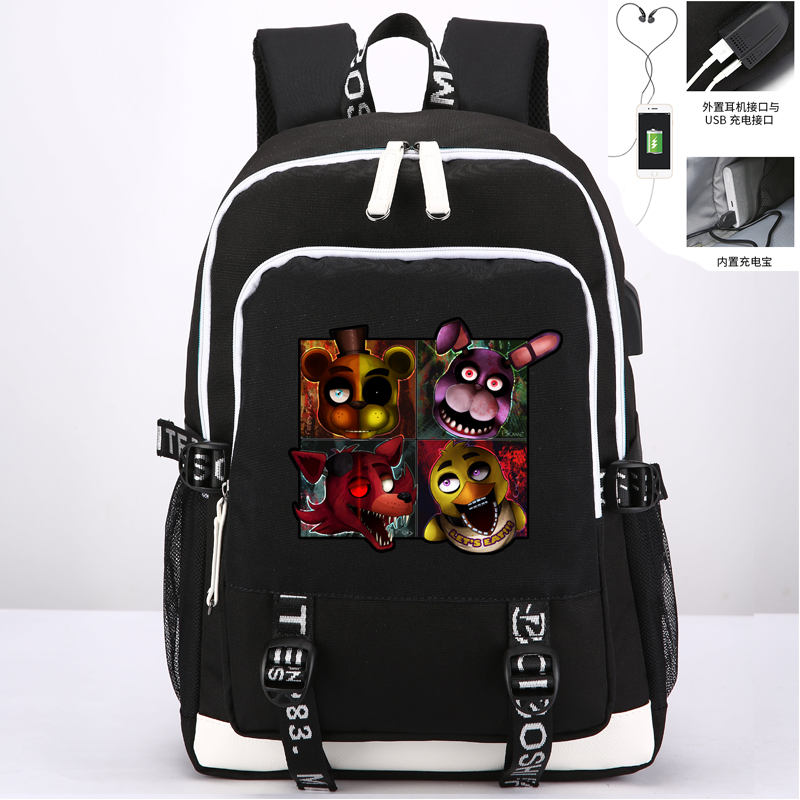 Five Nights At Freddy Bonnie Foxy Chica Bear Book Bag Rucksack Student School Bag For Boys Girls Travel With Usb Port Charging