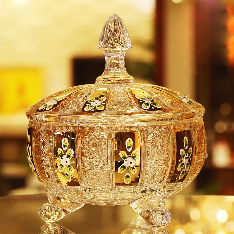 Pot à bonbons en émail Europe pot à bonbons en cristal plaqué or de luxe avec couvercle en verre réservoir de stockage en verre conteneur maison décorer