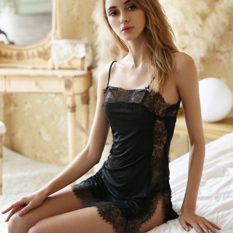 Sexy Lace Women Nightdress Spaghetti Strap Ice Silk Thin Section Fashion Lingerie