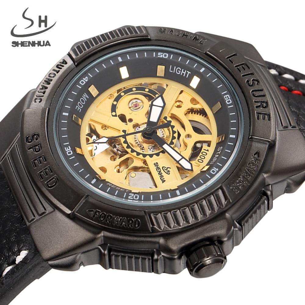 Skeleton Mechanical Watch Men Automatic Watches Brand SHENHUA Retro Leather Sport Luxury Black Vintage Watch Relogio Masculino