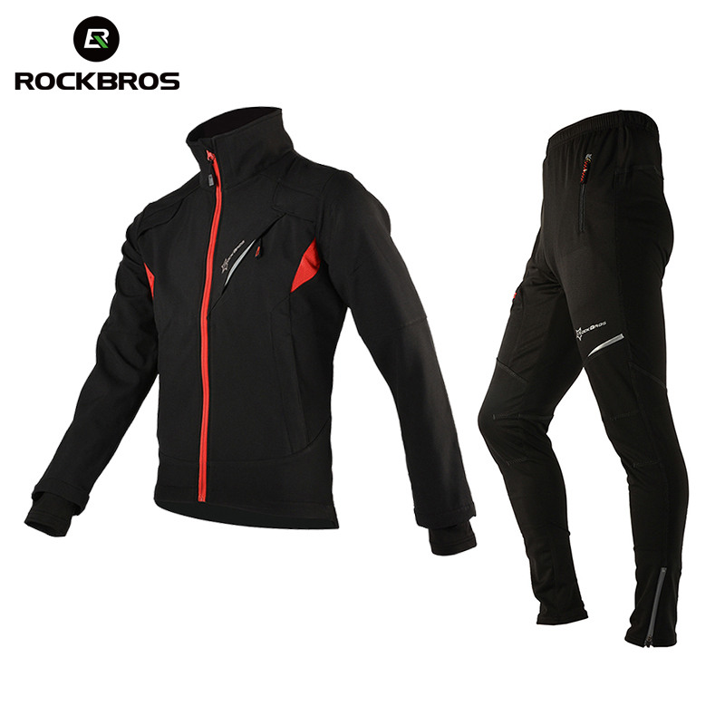 ROCKBROS Winter Fleece Hiking Sets Pants Jacket Sport Trousers Climbing Cycing Outdoor Sports Jersey Warmer Hik Set Clothing rax 2015 thermal fleece hiking pants for men women winter outdoor sports warm fleece trousers fleece camping pants 54 4f089