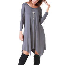 O-neck long sleeve with pocket famous in EU and US hot selling mid-long dress цена