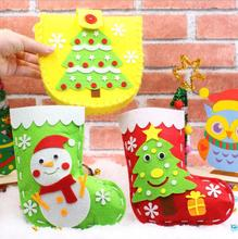 1 set DIY Non-woven Christmas Socks Material package, Sewing Handicraft Kits for Kids,Home Decor Handmade DIY holiday gifts C96
