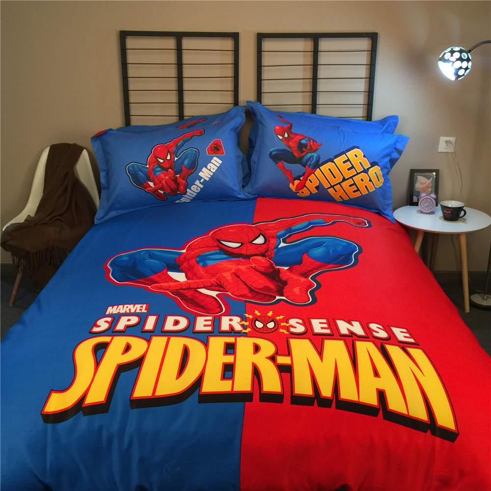 Spiderman bed set - Sale Spider Man Cartoon Bedding Bed Set Red And Blue Cotton Comforter Duvet Cover Kids Boys