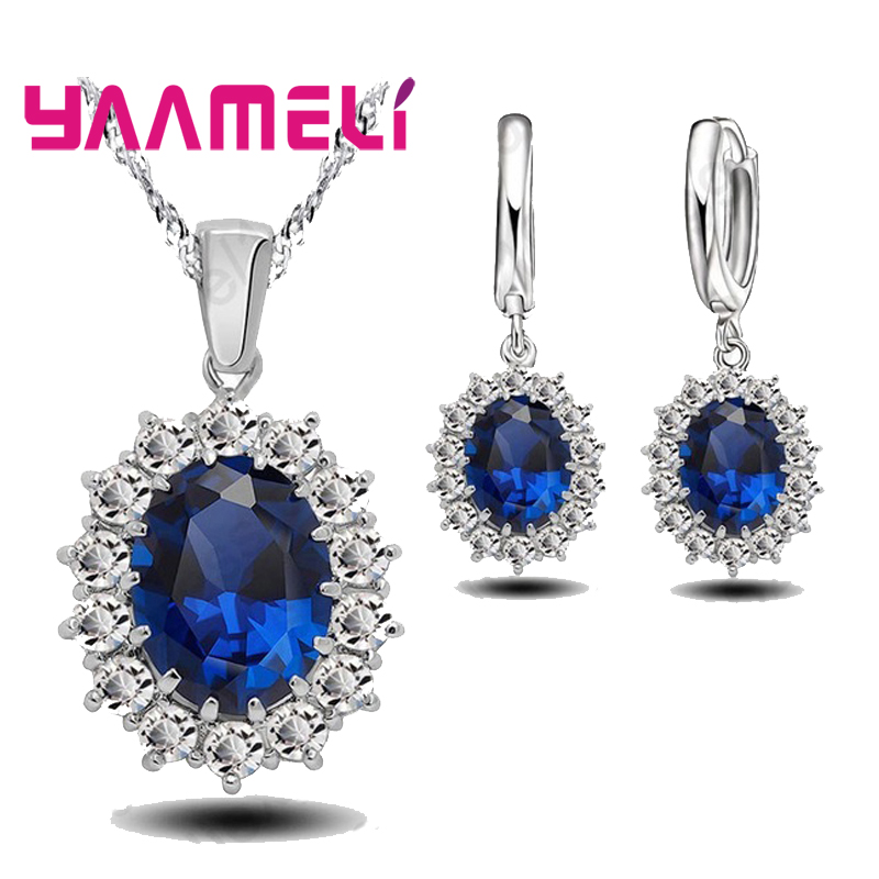 YAAMELI Genuine 925 Sterling Silver Engagment Bule Cubic Zirconia Pendant Necklace Earrings Woman Jewelry Sets For Wedding