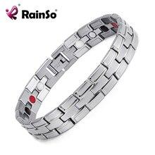 Nuevo 2017 de la moda de rainso marca 3 classic silver pulsera magnética de acero inoxidable elementos de atención médica para los hombres osb-086-02s