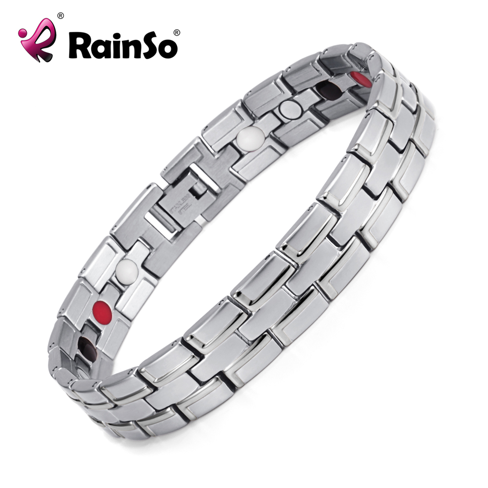 New 2020 Fashion Rainso Brand 3 Health Care Elements Stainless Steel Classic magnetic Bracelet For Men OSB-086-02S