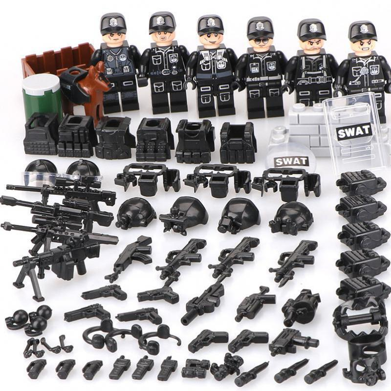 Moc Compatible Legoinglys Military Bricks Man Swat Super Police Team Mini Building Blocks Toys For Children Army Kids Gift military city police swat team army soldiers with weapons ww2 building blocks toys for children gift