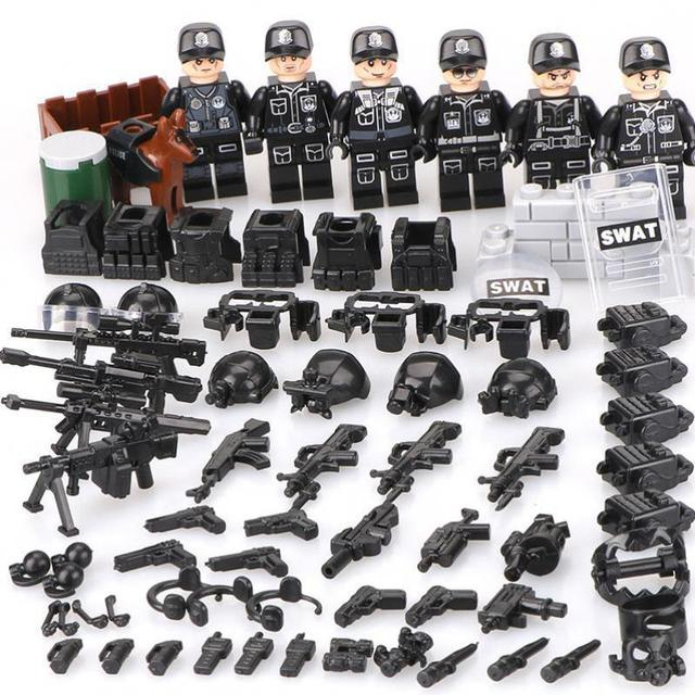 Moc Compatible Legoinglys Military minifigure Bicks Swat Police Army Team Mini Figure Building Blocks Toys  For Children Gift