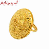 Adixyn Round Big Size Wide Ring for Women/Teenage Girls Gold Color Engagement Jewelry India/African/Ethiopian/Arab Items N03051