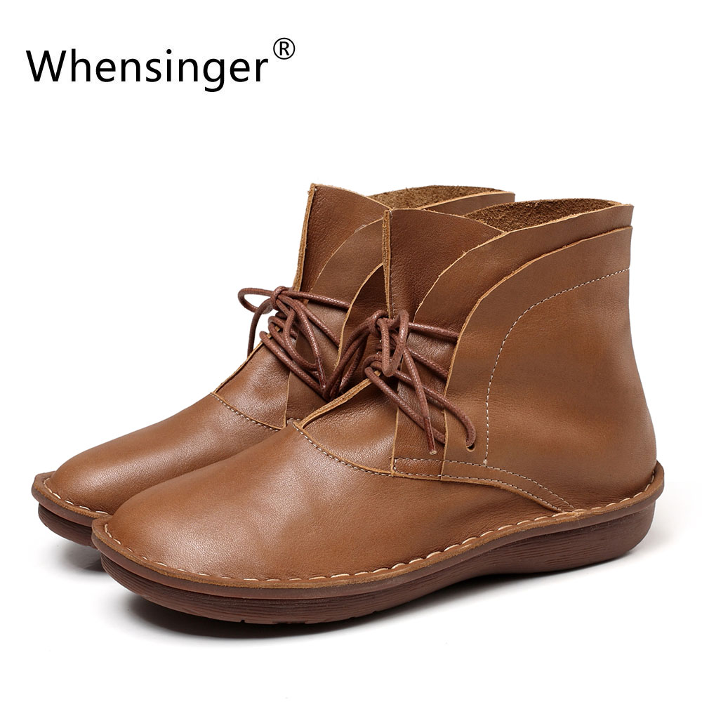Whensinger - 2018 New Women Shoes Lace-Up Design Genuine Leather Boots Round Toe Handmade 0508 front lace up casual ankle boots autumn vintage brown new booties flat genuine leather suede shoes round toe fall female fashion