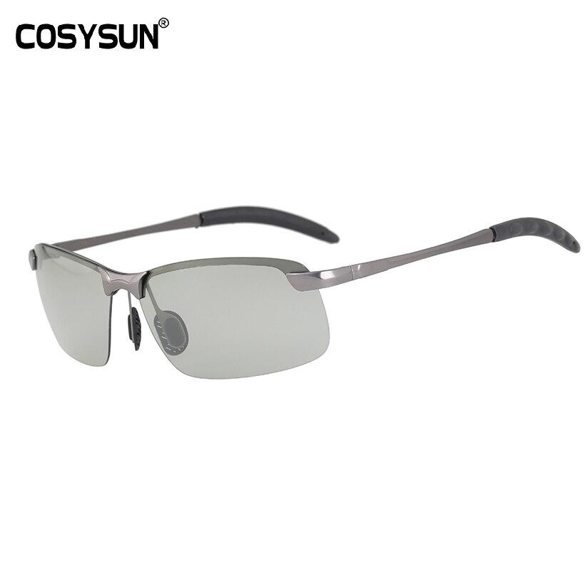 COSYSUN Brand Chameleon lens Sunglasses HD Polarized Men women Sun Glasse All day change color for Snow light rays shades CS043