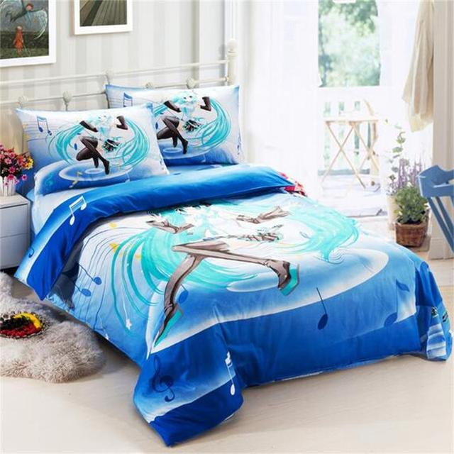 Blue Music Note Hatsune Miku Kawaii Japanese Anime Bedding Set Pure Cotton  Fabric Single Bed Sheets