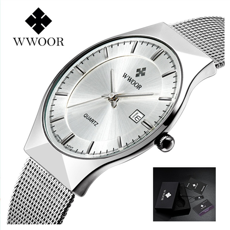 WWOOR Watch Men Luxury Ultra Thin Men Stål Quartz Watch Date 50m - Herrklockor - Foto 2