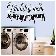 Laundry  Home Decoration Room laundry room decoration carved wall stickers can remove Pegatinas Paredes Decoracion