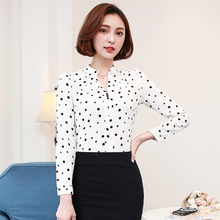 S-3XL Plus Size Long Sleeve Chiffon Blouses Blusa Autumn New Casual V-neck Polka Dot White Shirt Tops Office OL Sexy Lady Blouse